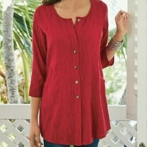 Soft Surroundings Womens Red Ellis Shirt Size S